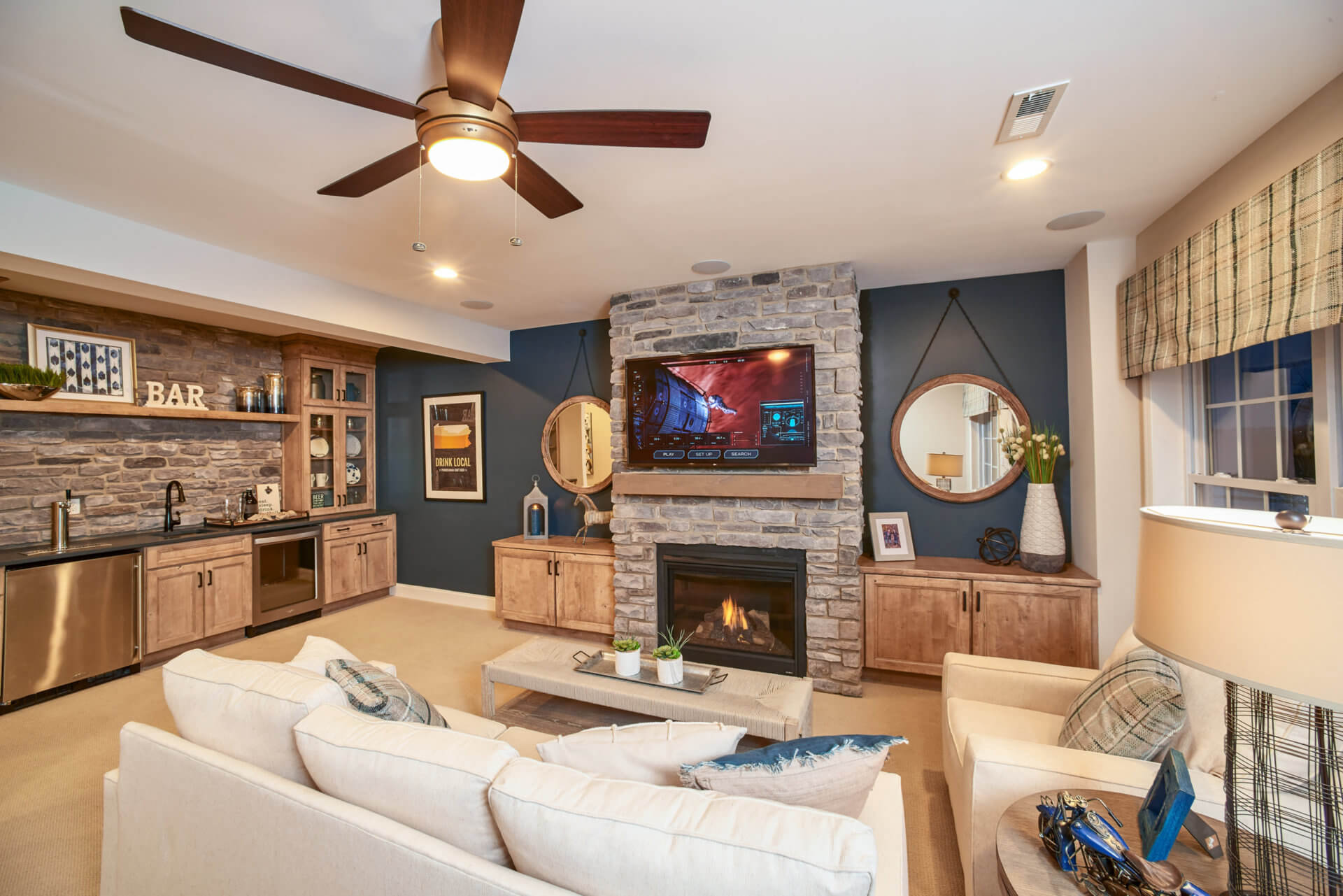 rec room with fireplace