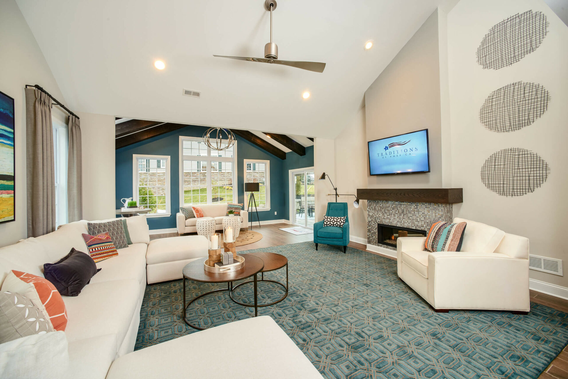 Betsy Ross modern living room with teal accents
