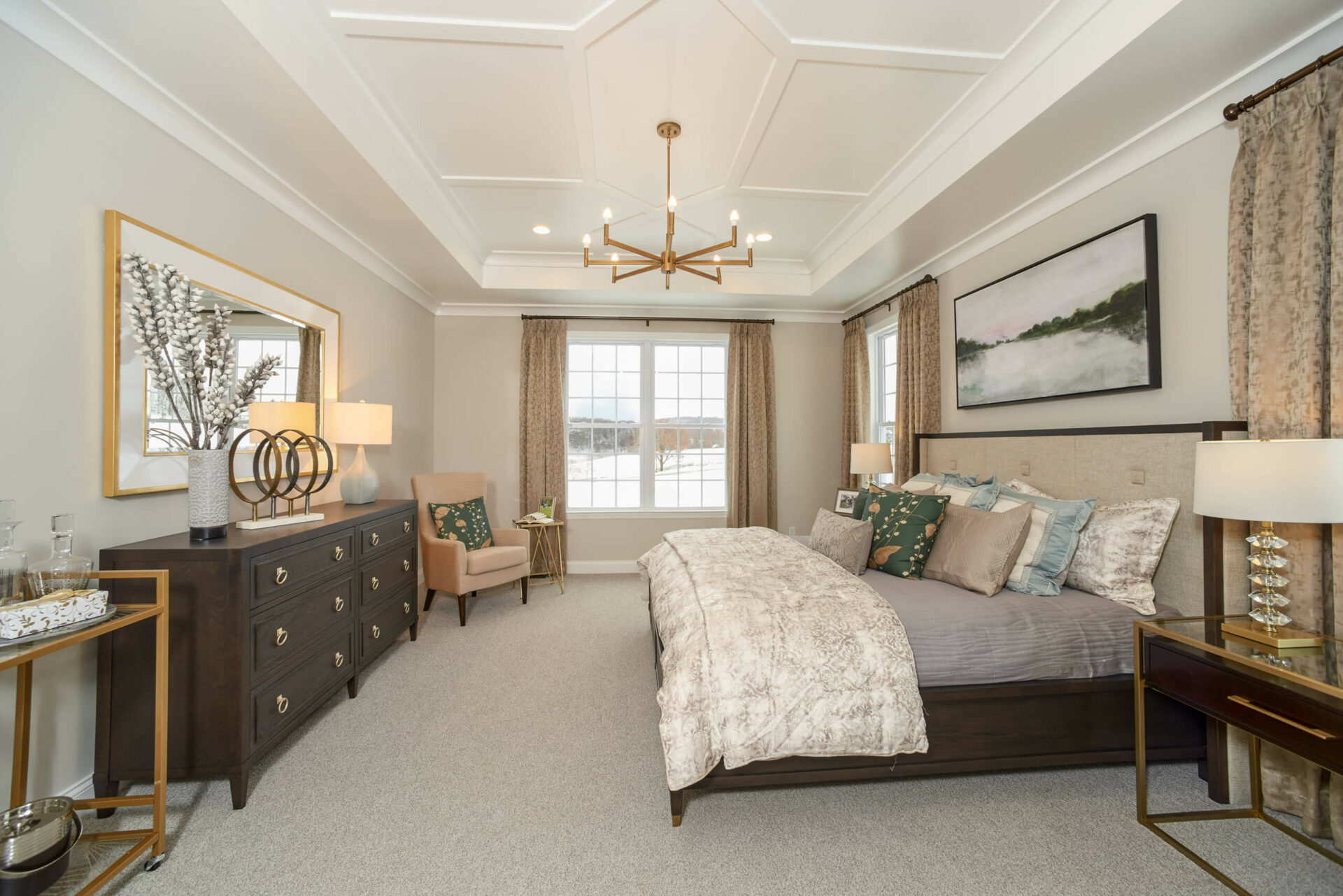 The tailored look is smartly and seamlessly woven into every room and works nicely in the Master Bedroom in the Hancock Model at Traditions of America