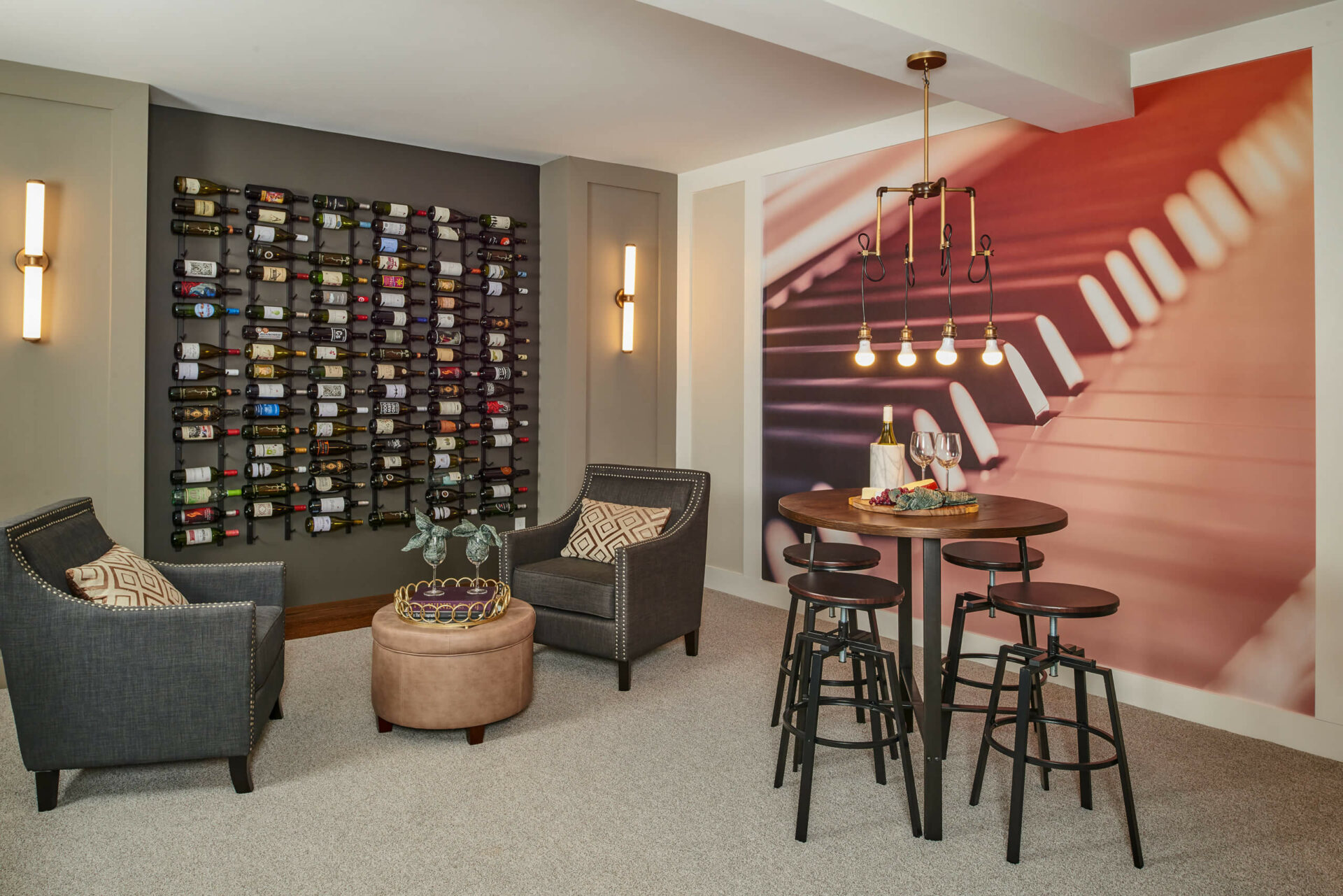 The finished lower level of the Hancock Model features an eclectic wine cellar and more